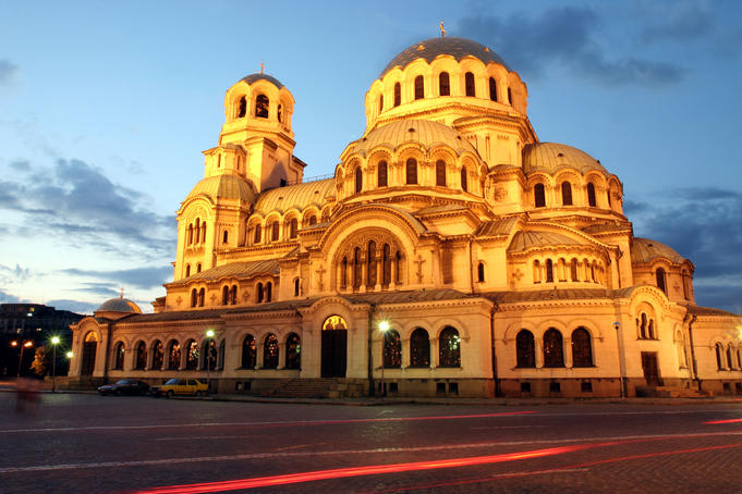 Evening view of Aleksander Nevski Church in central Sofia.
