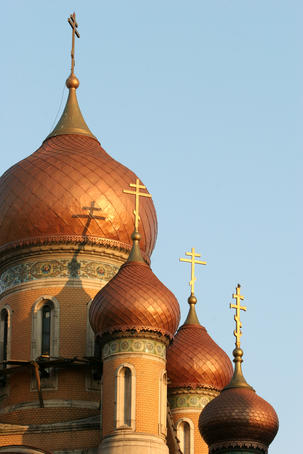 Domes with crosses on orthodox church, Biserica Studentilor.