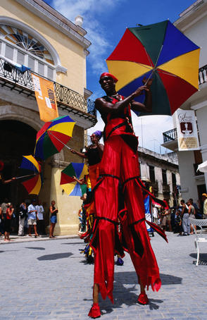 Stilt walker during carnival, Old Havana.