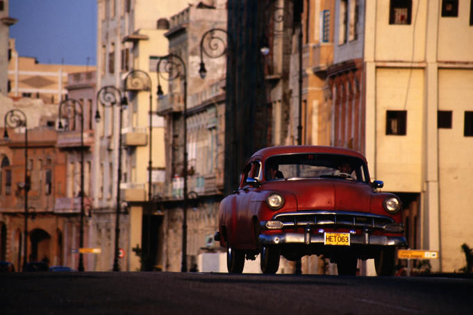 Classic American car on Malecon.