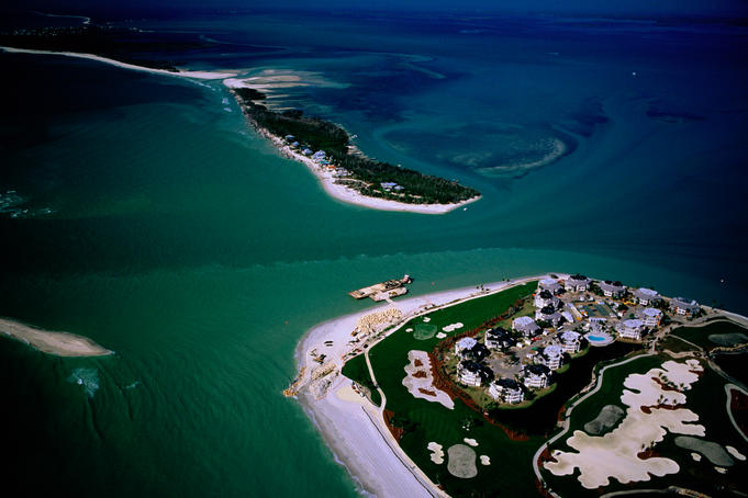 A turquoise-tinged, bird's-eye view of North Captiva Island