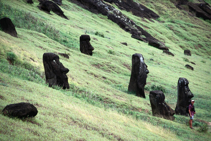 Rano Raraku, known as the nursery: maoi on the slope inside the crater - Easter Island