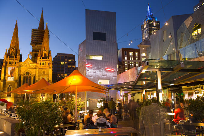 Federation Square with skyline in background.