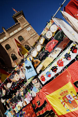 Souvenir stall that opens before the bullfight in front of the Plaza de Toros.