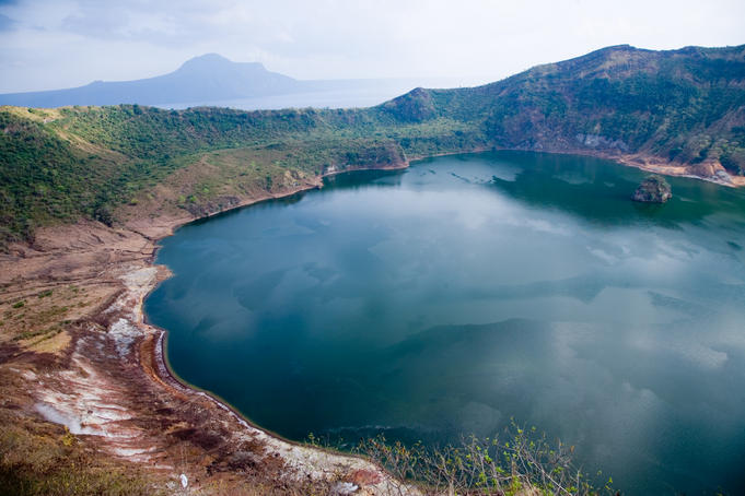 Crater lake of Taal Volcano, Batangas, Luzon Island, Philippines