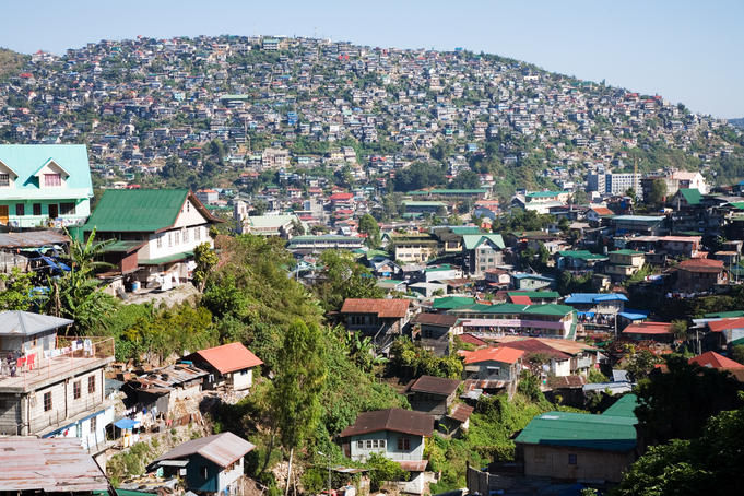 View upon residential area of Baguio City, Benguet, Luzon Island, Philippines