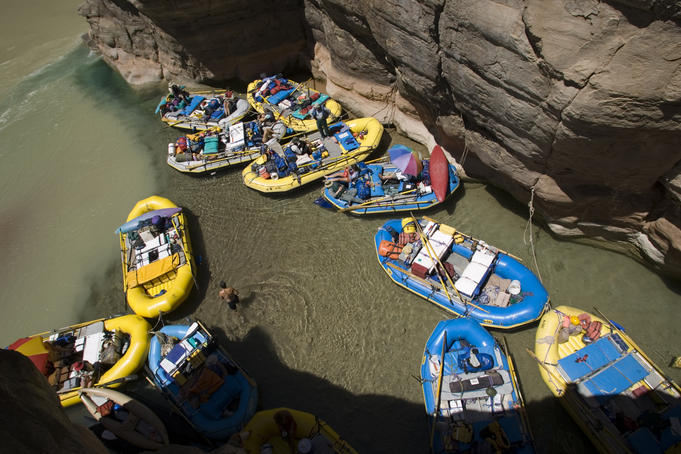 Rafts tie up, mouth of Havasu Creek, Colorado River.