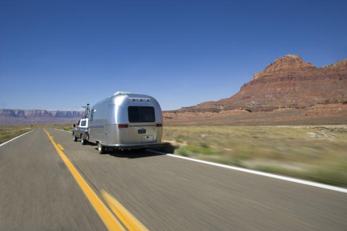 Airstream caravan on the road to Page.