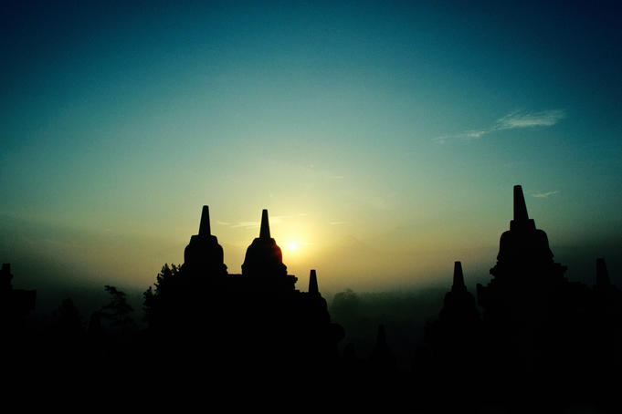 The temples of Borobudur at sunrise.