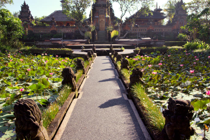 Ubud Water Palace (Pura Taman Saraswati) with lily pond in foreground.