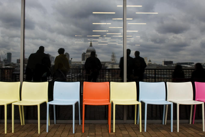 Colored chairs outside cafe, Tate Modern Gallery, Southbank.