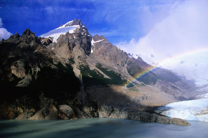 Rainbow over Laguna Torre and summit of Cerro Solo.