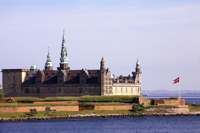 Helsingor, Hamlet's castle, and Danish national flag.