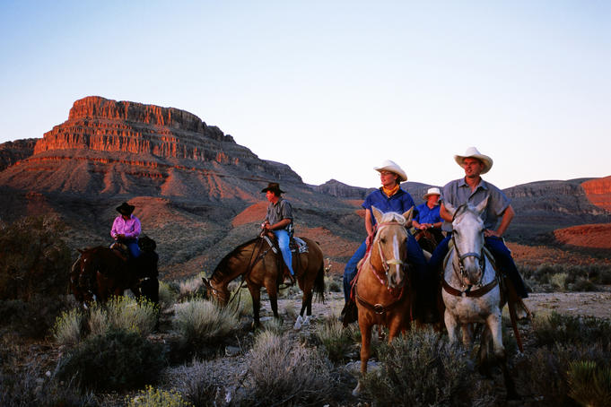Sunset horseback ride at Grand Canyon West Ranch, near Meadview.