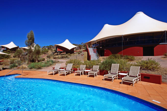 Swimming pool and tent chalets at Longitude 131 Lodge, Ayers Rock Resort.