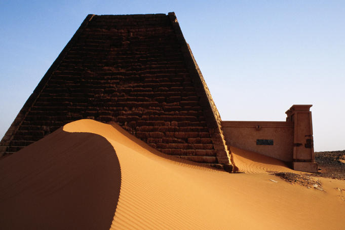 Pyramids and tombs in Royal cemetery, Meroe north of Khartoum.