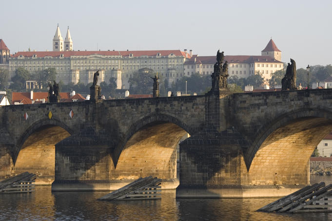Charles Bridge, (Karlov most) over Vltava River.