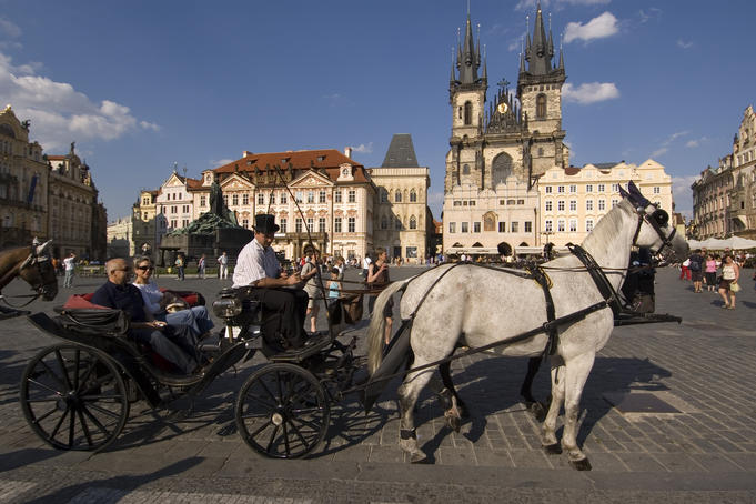 Horse carriage in Old Town Square.