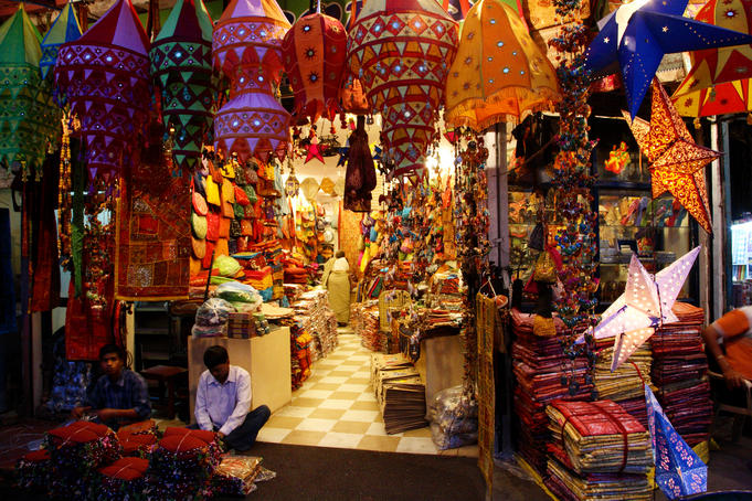 Lamps and handicrafts in souvenir shop at Paharganj bazaar.