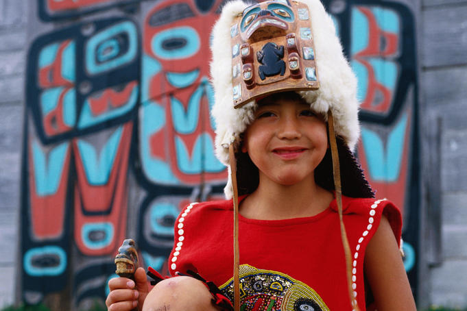 Portrait of young Chilkat Indian dancer.