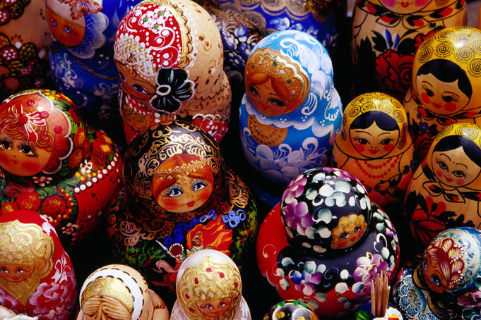 Matryoskha dolls for sale at souvenir market on waterfront in Listvyanka village on Lake Baikal.