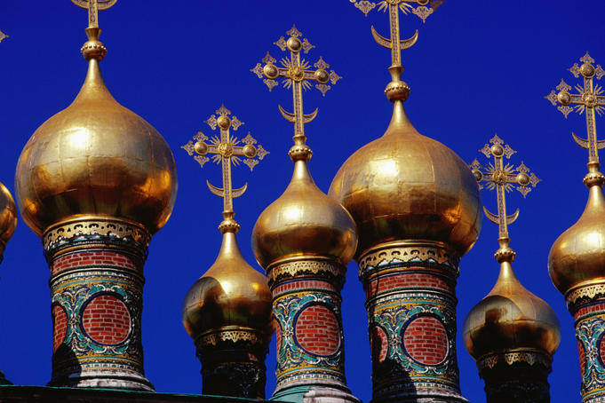 Helmet domes on church in the Kremlin.