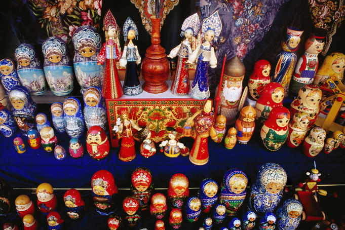 Matryoshkas displayed in shop window on Arbat Street.