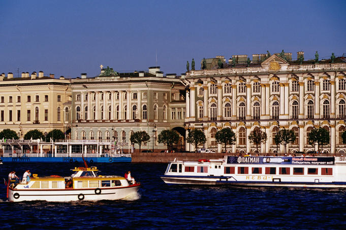 Tour boats on the Neva River outside the Hermitage.