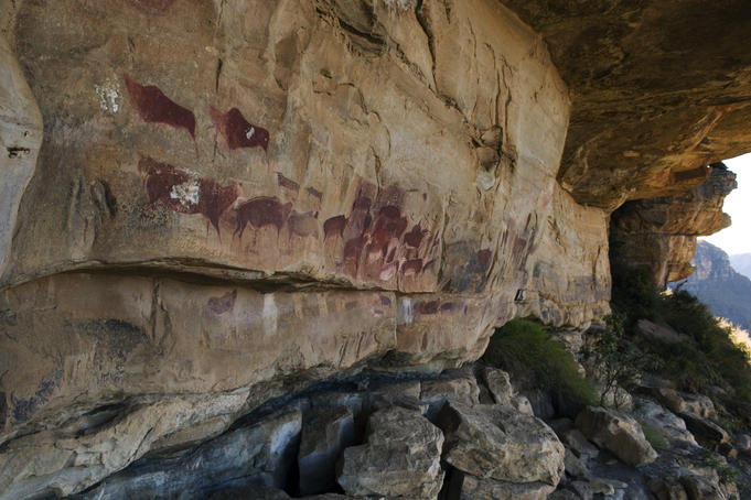 Rock art in Game Pass Shelter, Kamberg Nature Reserve.