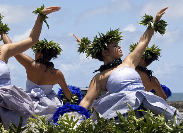 Dancers in parade, 43rd Merrie Monarch Hula Festival.