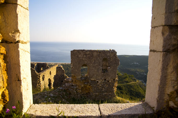 Castle ruins with Adriatic Sea beyond, Himara.