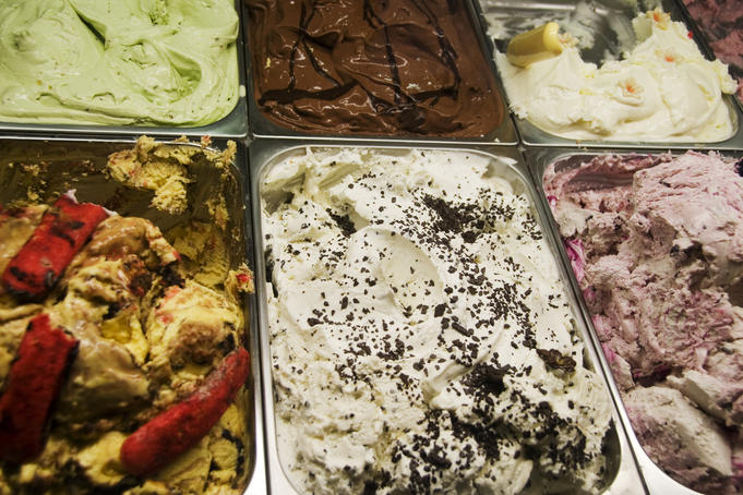 Ice cream on display in gelateria.