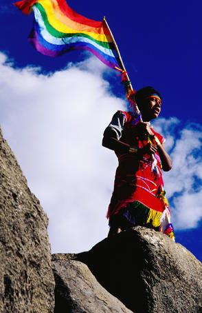 Flag bearer at ancient Incan Inti Raymi festival at Sacsayhuaman, above Cusco