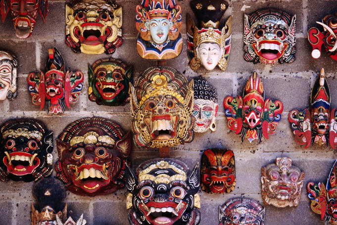 Wood carved Topeng masks.