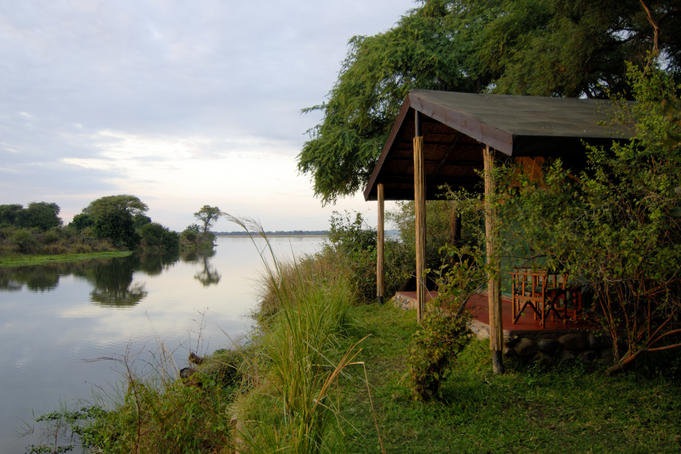 Looking over Chongwe and Zambezi Rivers from guest room at Chongwe River Camp.