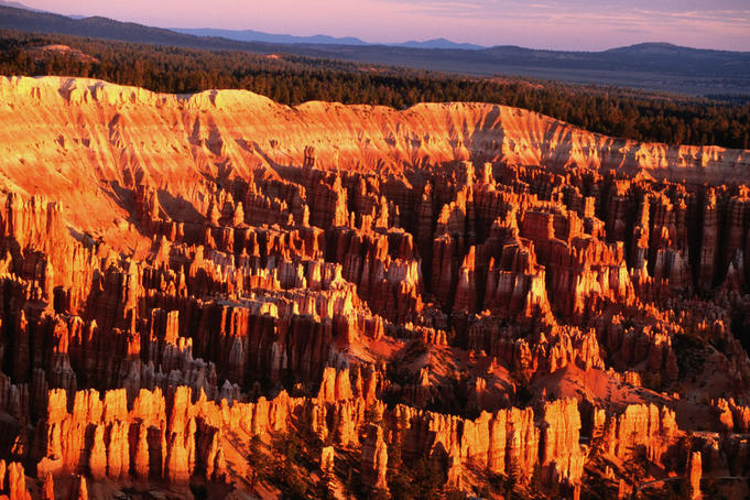 Overhead of Bryce Canyon at dawn from Bryce Point.