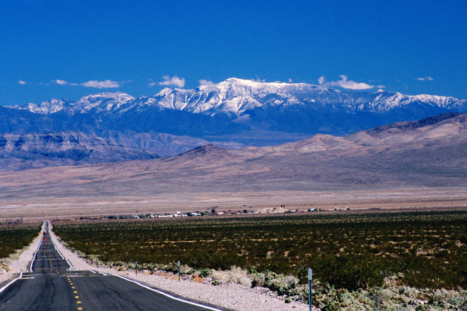 Death Valley Junction from CA 130, Spring Mountains (Nevada) in background.