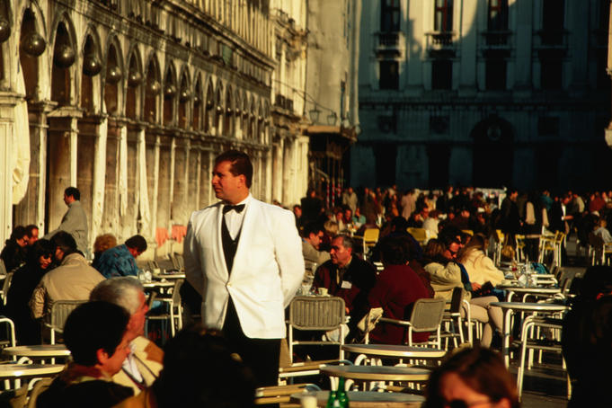 Outdoor dining in San Marco Piazza.