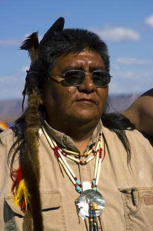 Portrait of a Hualapai Indian man.
