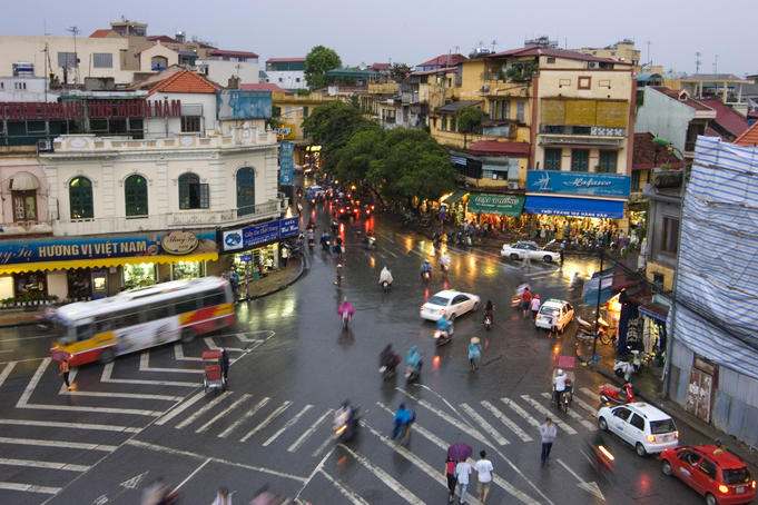 Traffic intersection, downtown Hanoi.