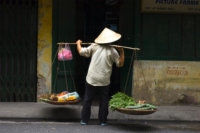 Selling vegetables on the street.