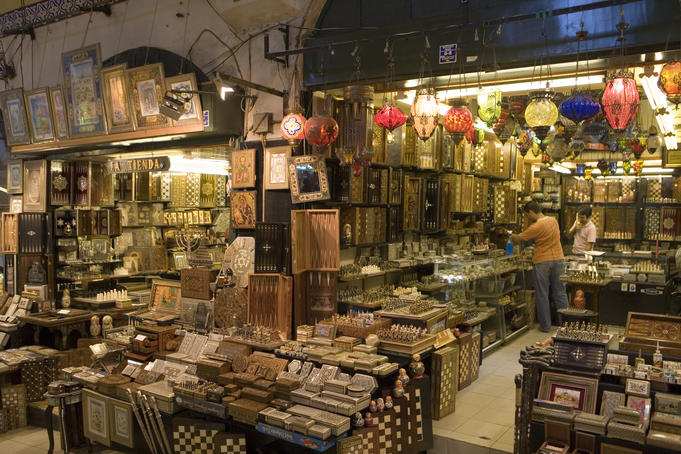 Selling backgammon and other souvenirs at Kapali Carsi Grand Bazaar.