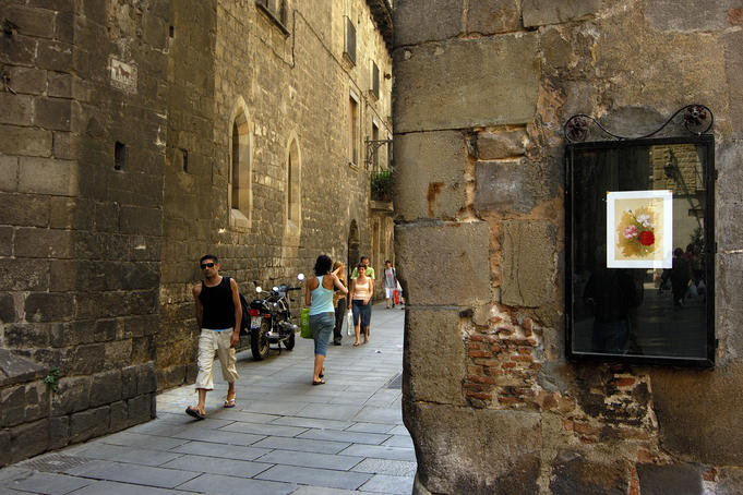 Walking in Gothic Quarter.