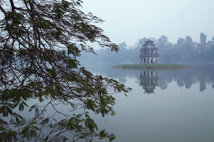 Pagoda in centre of Ho Hoan Kiem Lake (Lake of the Restored Sword).