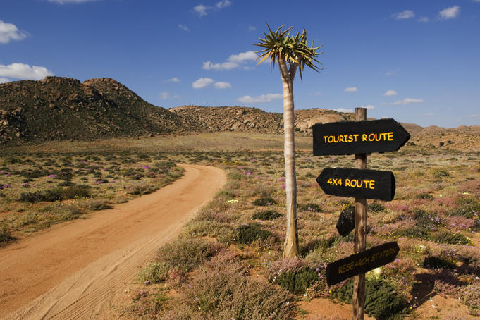 Sign in Goegap Nature Reserve, Namaqualand.