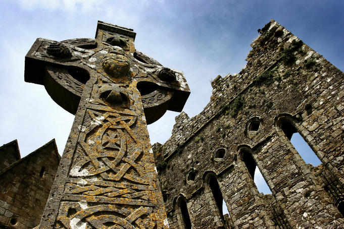 Cross at St Patrick's Cathedral and the Rock of Cashel.