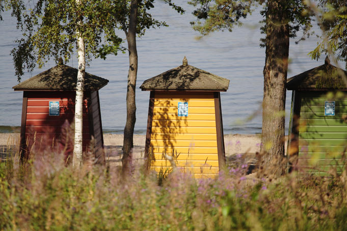 Traditional beach huts, Pihlajasaari island.