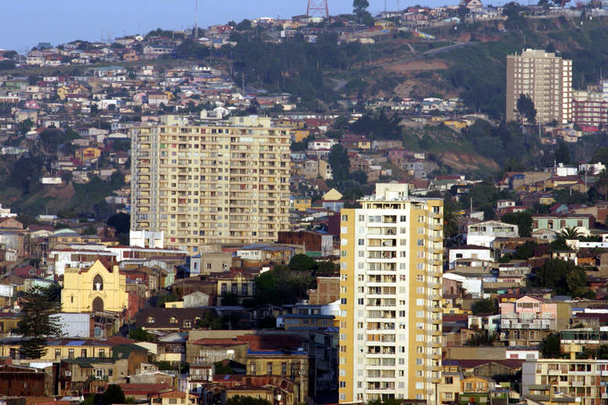 Cityscape of the harbour hills near Bella Vista, Valparaiso