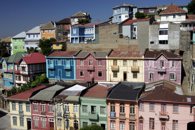 Colourful tiered houses on the city's steep hills near Bella Vista, Valparaiso