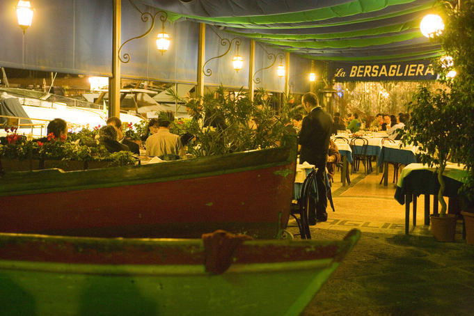Boat filled entrance of La Bersagliera restaurant, Chiaia.
